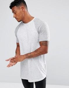 Фактурная удлиненная футболка с закругленным краем и молниями по бокам ASOS - Серый