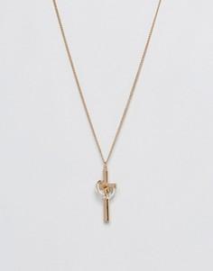 Ожерелье с золотистым и серебристым покрытием и подвесками Chained & Able - Золотой