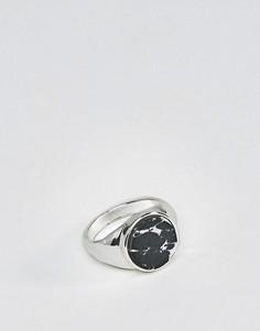 Кольцо-печатка с камнем Chained & Able - Серебряный