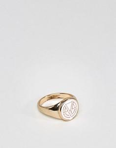 Кольцо-печатка с эмалированным логотипом Chained & Able - Серебряный