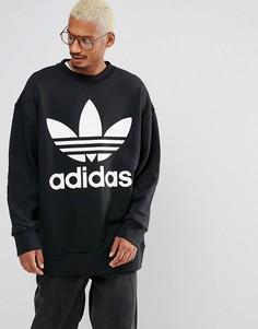 Черный свободный свитшот с круглым вырезом adidas Originals BQ1814 - Черный