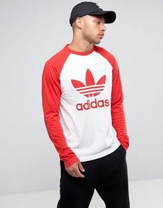 Белая футболка с длинными рукавами реглан и логотипом-трилистником adidas Originals BR4320 - Белый