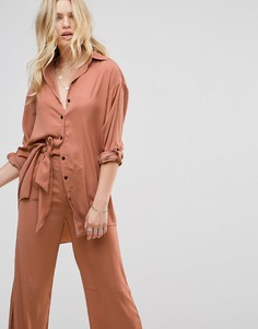 Рубашка с добавлением шелка None The Richer Jagger - Розовый