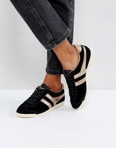 Черные замшевые кроссовки с золотистой отделкой Gola Bullet - Черный