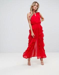 Платье макси с оборкой Moon River - Красный