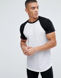 Длинная обтягивающая футболка с контрастными рукавами реглан ASOS - Белый
