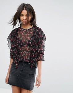 Блузка с длинными рукавами и оборками Rage - Мульти