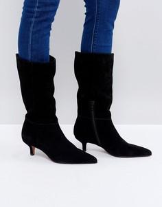 Замшевые ботинки на каблуке-рюмочке ASOS CARLITA - Черный