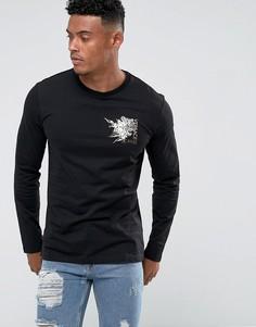 Черный лонгслив с логотипом Versace Jeans - Черный