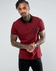 Бордовая футболка-поло с логотипом на груди Versace Jeans - Красный