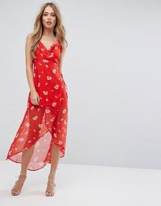 Платье с запахом и цветочным принтом Missguided - Красный