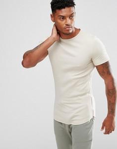 Длинная обтягивающая футболка в рубчик с молниями по бокам ASOS - Бежевый