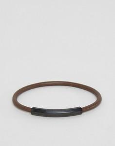 Тонкий кожаный браслет Emporio Armani - Черный