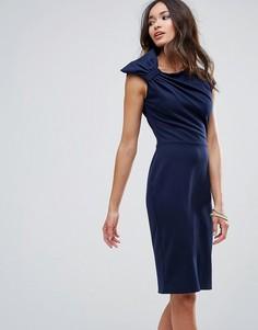 Платье-футляр миди с бантом на плече City Goddess - Темно-синий