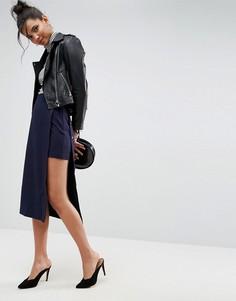 Двухслойная юбка прямого кроя с пуговицами ASOS Tailored - Темно-синий