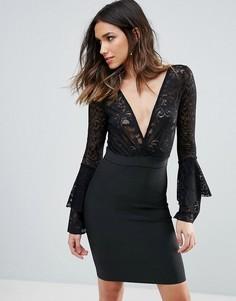 Бандажное облегающее платье с кружевным верхом и глубоким вырезом WOW Couture - Черный