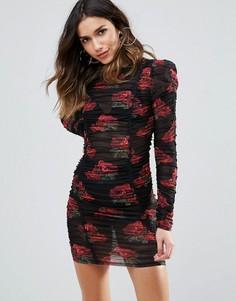 Присборенное облегающее платье с цветочным принтом WOW Couture - Мульти