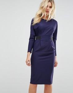 Платье миди с эластичной талией ASOS - Темно-синий
