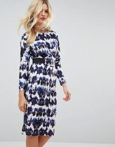 Платье миди чернильного цвета с эластичной талией ASOS - Мульти