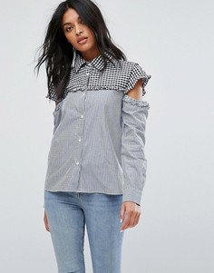 Рубашка в полоску и клетку с вырезами Walter Baker Marvin - Синий