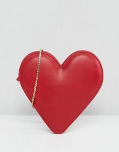 Кожаная сумка через плечо с сердцем Lulu Guinness - Красный
