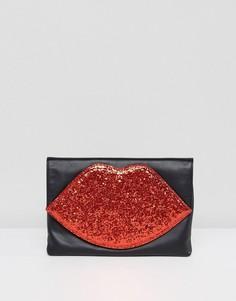 Красный блестящий клатч в форме губ Lulu Guinness - Мульти