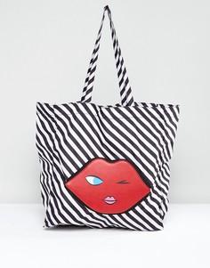 Складывающаяся сумка-шоппер в форме эмотикона Lulu Guinness - Красный