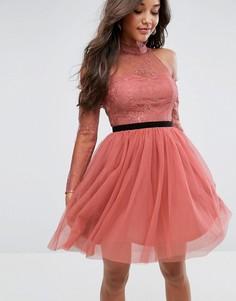 Платье мини для выпускного из тюля с вырезами на плечах ASOS PREMIUM - Розовый
