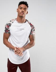 Белая футболка с цветочной отделкой на рукавах Illusive London - Белый