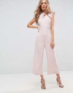 Комбинезон с высоким воротом и широкими штанинами ASOS - Розовый