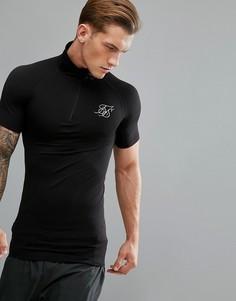 Черная компрессионная футболка с молнией до груди SikSilk - Черный