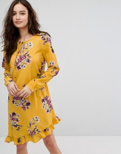 Платье с цветочным принтом и оборкой Vila - Мульти