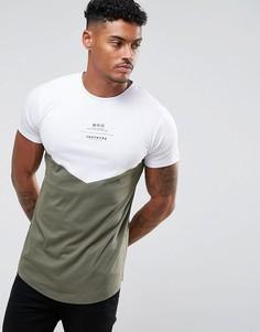 Белая футболка со вставкой цвета хаки Hype - Белый