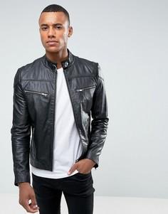 Байкерская куртка из премиум-кожи Barneys - Черный
