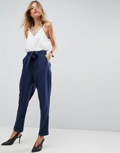 Тканые широкие брюки с поясом-оби ASOS - Темно-синий