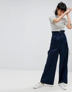 Широкие брюки с присборенной талией ASOS - Темно-синий