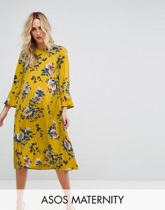 Атласное платье миди с цветочным принтом ASOS Maternity - Мульти