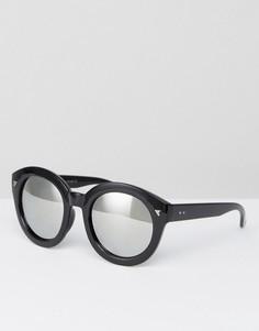 Круглые солнцезащитные очки в черной оправе 7x - Черный