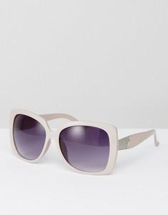 Большие солнцезащитные очки с фиолетовыми стеклами 7x - Кремовый