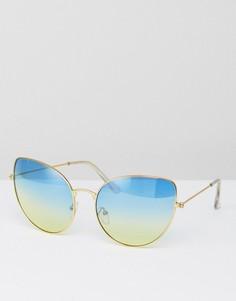 Солнцезащитные очки с синими затемненными стеклами 7x - Золотой