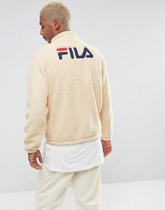 Черная куртка из искусственного меха с логотипом на спине Fila - Белый