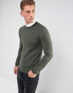 Узкий джемпер цвета хаки из мериносовой шерсти ASOS - Зеленый