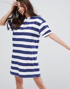 Платье-футболка в полоску с отворотами на рукавах ASOS - Мульти