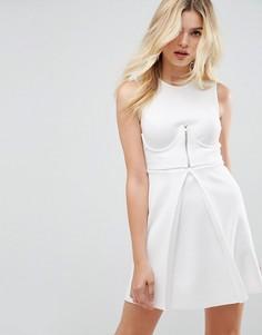Приталенное платье мини с корсетом на молнии ASOS - Белый