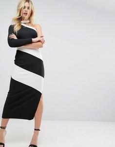 Платье макси в рубчик на одно плечо с чокером и контрастными вставками ASOS - Мульти