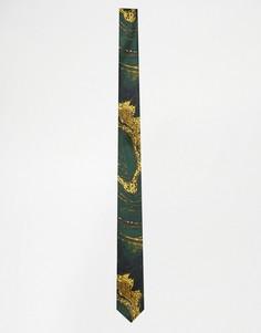 Зеленый узкий галстук с мраморным принтом ASOS - Зеленый
