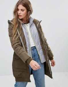 Длинное стеганое пальто Urban Bliss - Зеленый