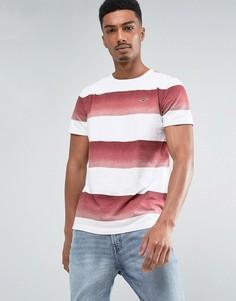 Красная приталенная футболка с круглым вырезом и широкими полосками Hollister - Красный