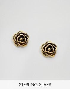 Позолоченные серьги-гвоздики в виде розочек Kingsley Ryan - Золотой