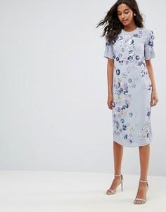 Удлиненное платье миди с декоративной отделкой ASOS - Синий